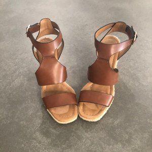 ZARA Brown Leather Espadrille Wedge Sandals